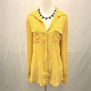 Ann Taylor LOFT Floral Yellow  Long Sleeve Shirt